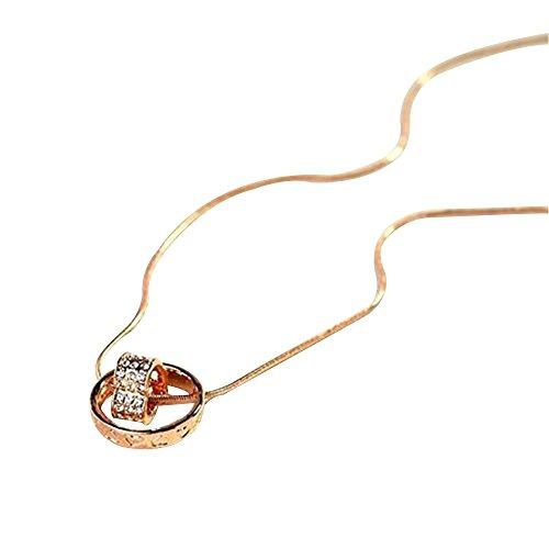 Contever® Colgante de Collar Anillo Corazón Chapado en Oro Austria de Cristal Claro de Cadena de longitud 45 cm con la caja de