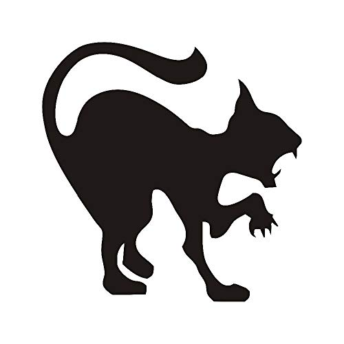 Wandtattoos & Wandbilder/UPUPUPUP Scary Black Cat Wandaufkleber Halloween Dekoration Zischen Katze Vinyl Aufkleber Wandkunst Wütende Katze Hallowmas Home Decor Zubehör 59X59cm