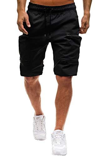 Herren Shorts Kurze Hose Herren Cargo Shorts Bermuda Short Herren Sweatshort Sportshorts Freizeit Laufen Lässige Camouflage (Cargo Stil, Schwarz, XL)