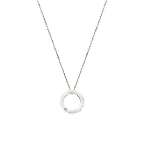 tartesia Femme en Argent Sterling plaqué rhodium ronde Bleu aigue-marine Astarte Cercle Pendentif Collier Rhodium Plated Sterling Silver