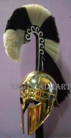 Mittelalter Antike Messing Griechische Korinthischer Helm mit Schwarz und gelb Plume von...