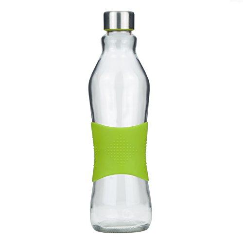 Schraubverschluss Glas-wasser-flaschen (Grip & Go 1.0L Glas Wasserflasche / Kühlschrank Flasche - Rutschfester Silikongriff - Edelstahldeckel - GRUNE)