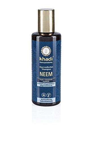 Khadi Ayurvedisches Shampoo Neem 210ml I gegen Juckreiz und schuppige Kopfhaut I natürliches Haar-Shampoo für jedes Haar I vegane Haar-Reinigung zur täglichen Haar-Wäsche I Naturkosmetik ohne künstliche Zusätze