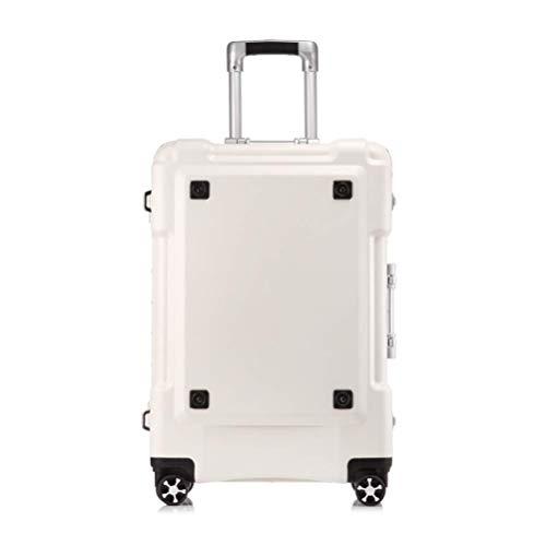 WSJ Telaio in Alluminio Viaggio Business Trolley Caso, Silent Caster, Valigia Impermeabile, Grande capacità, archiviazione ragionevole, 20-inch Boarding, antifurto Box,White