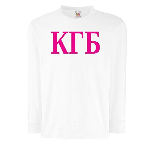 Kinder-T-Shirt mit langen Ärmeln Politisch - KGB, UdSSR - CCCP, Russisch, Русский (5-6 years Weiß Magenta)