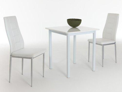 Dreams4Home Essgruppe Camil, 3-teilig, Tisch inkl Stühle, Sitzgruppe, Tischgruppe Weiß Hochglanz