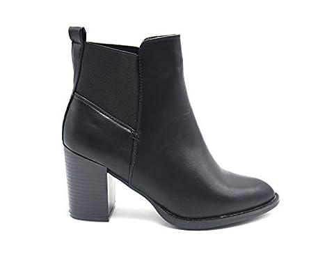 SHF79 * Bottines Boots à Talon Carré Simili Cuir Uni avec Bout Pointu et Bande Tissu Elastique - Mode Femme (Noir), 39