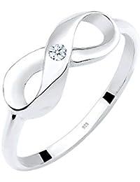 Diamore Damen-Ring Infinity Verlobung 925 Silber Diamant (0.03 ct)