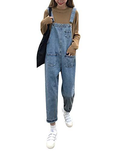 Mujer Petos Vaqueros Overalls Denim Jeans Elásticos Vaqueros Pantalones Largo Casual Elegante Petos Sueltas Azul XL