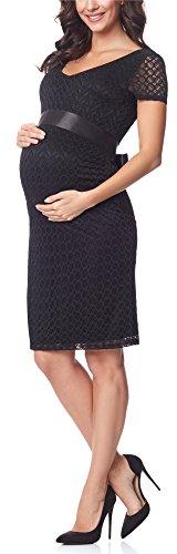 *Be Mammy Damen Umstandskleid festlich aus Spitze kurze Ärmel Maternity Schwangerschaftskleid BE20-162 (Schwarz2, S)*