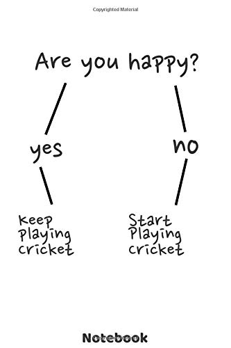 Are you happy? Keep playing Cricket Notebook: Funny Cricket journal with 120 dot grid pages 6'x9'  | Unique gift idea for a player, fan or coach of ... or christmas present for friends & family. -