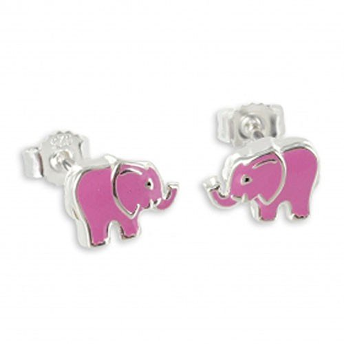 ASS 925 de plata studs pendientes Elefant laca - Colour rosa