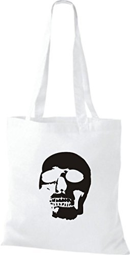 T-shirt Di Stoffa Tinta Unita A Forma Di Teschio Con Teschio Teschio Bianco