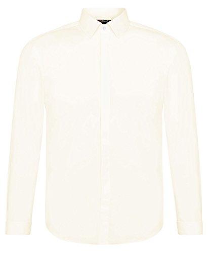 CRIXUS Herren Langarm Hemd Slim Fit Manschettenhemd Bügelleicht Weiß Creme Ivory (M - Kragenweite: 39/40, Creme Champagne)