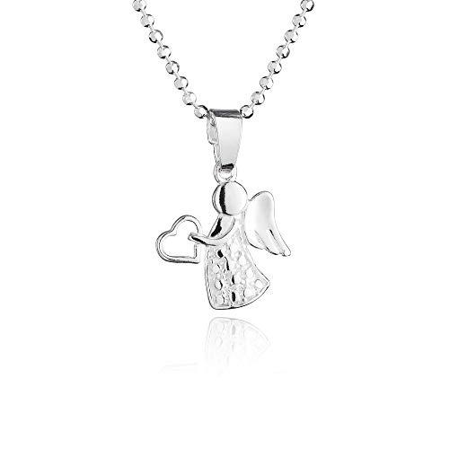 fish Mädchen Jungen Hals-Kette Silber 925 Schutzengel-Anhänger Glücksbringer Längen-verstellbar Geschenkbox Geschenk zur Geburt
