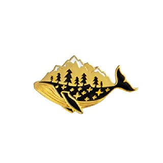 Minisu, Retro-Brosche, Wal-Design, Kleidungsaccessoires, Corsage Schal Schal Clip für Damen, Geschenk (Goldon)