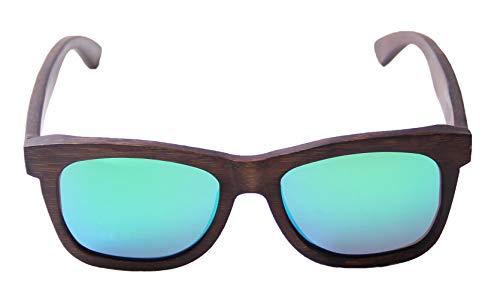 LY4U Mens und Womens Polarisierte Full Charcoal Bamboo Rahmen Classic Holz beschichtete Sonnenbrille, Vintage Brillen, Schwimmende Sonnenbrille mit Bamboo Box (Grün)