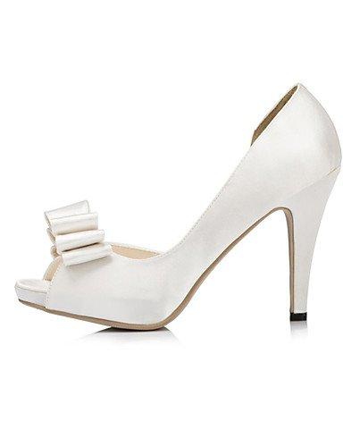WSS 2016 Chaussures femmes satin talons talon aiguille talons mariage / fête&soirée / robe ivoire / blanc 4in-4 3/4in-white