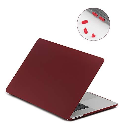 Lention Harte Hülle mit Anschlusssteckern kompatibel MacBook Pro (15 Zoll, 2016-2019, 4 Thunderbolt 3 Ports) Modell A1707/A1990, mit Touch Bar und Touch ID, Mattes Finish mit Gummifüßen (Frost Wein) -
