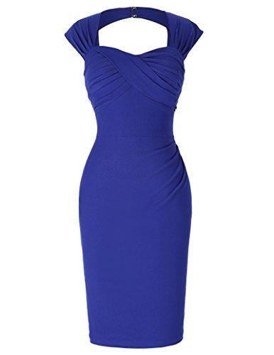 Femme Rétro Vintage Sans Manches Poitrine Plissée Haute Taille Élastique Bodycon Robe FR155-5 ,Bleu ,40