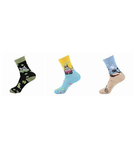 Socken Bunt,Cat Hippo Beach Muster Neuheit Weichen Gemütlichen Bunten Frauen & Amp; Männer Socken Harajuku Streetwear Funny Cute Cartoon Einhorn Pinguin Hippo Donut Koreanisches Mädchen Kunst Socke
