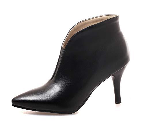 Easemax Damen Spitzen Stiletto High Heel Low Cut Hochfrontpumps Knöchelstiefel Schwarz 43 EU