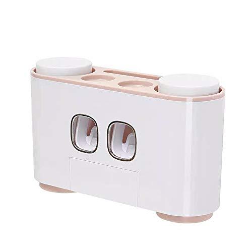 Klicop Zahnbürstenhalter für Badezimmer mit 2 Zahnpastaspender, 4 Tassen und 5 Zahnbürstensteckplätzen, Wandmontage, pflegeleicht, hygienisch und sicher Bad tragbares Werkzeug (Farbe : Rosa)