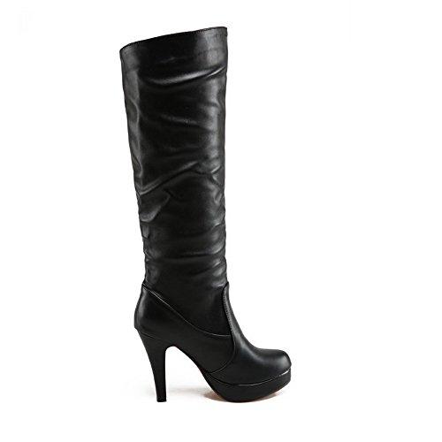 AllhqFashion Damen Knie Hohe Ziehen auf Blend-Materialien Mittler Absatz Rund Zehe Stiefel, Schwarz, 38