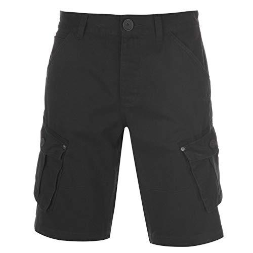 Firetrap Herren BTK Shorts Cargohose Baumwolle Viele Taschen Washed Schwarz XXXXL