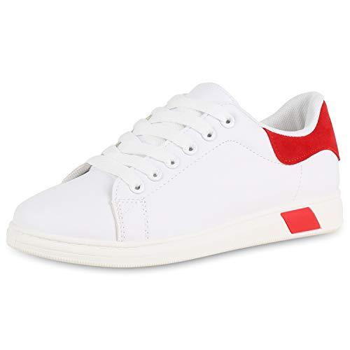 SCARPE VITA Damen Sneaker Low Leder-Optik Turnschuhe Schnürer Freizeit Schuhe 176617 Weiss Rot 38 -