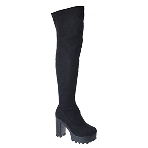 LADIES WOMENS OVER THE KNEE THIGH HIGH CHUNKY PLATFORM BLOCK HEEL STRETCH BOOTS