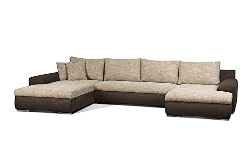 Cavadore Wohnlandschaft Leriot / Sofa in U-Form mit Strukturstoff / Longchair rechts oder links montierbar / Inkl. Zier- und Rückenkissen / Größe: 365 x 86 x 200 cm (BxHxT) / Braun - Hellbraun