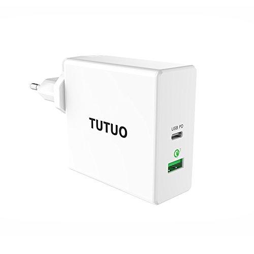 TUTUO 60W USB C Netzteil PD Ladegerät (Power Delivery), Quick Charge 3.0 Schnellladegerät mit UK/EU/US Stecker für iPhone XS, XS MAX, IPAD Pro 11, 12.9 2018, MacBook Pro, Huawei P20 Mate 20 Pro - 60w Universal Netzteil