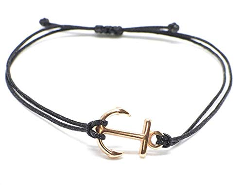 Frauen Ankerarmband in Roségold auf schwarzem Armband - größenverstellbar
