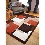 Tempo Rust Beige Square Design Thick Quality Modern Carved Rugs. Available in 6 Sizes - low-cost UK light shop.