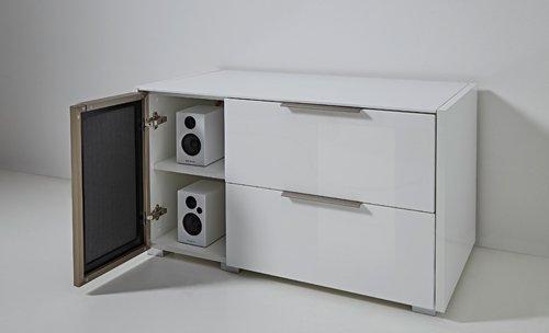 7-tlg Wohnwand in Hochglanz weiß/grau mit Akustik-Fächern und LED-Beleuchtung, Gesamtmaß B/H/T ca. 324/170/51 cm - 4