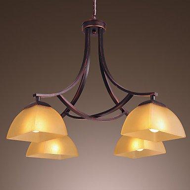 Europeo minimalista 4 Stile Giù lampadario con paralume (120 Volt 4 Catena Luce)