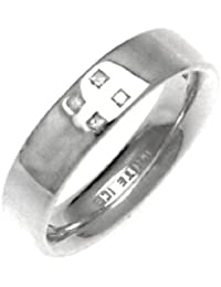 White Ice London Silver Ring with Diamonds DR050 Plain Band Ring with 4 Diamonds