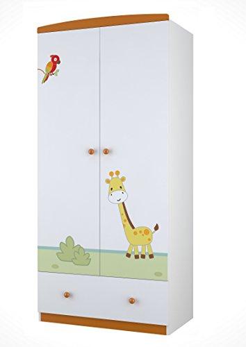 Polini-Kids-Kleiderschrank-Basic-Jungle-2-trig-wei-orange-1189-1