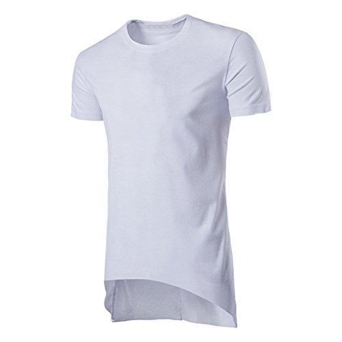 Amlaiworld Mode Herren Langes T Shirt Unregelmäßiges Hem Hipster Hip Hop T Shirt (Weiß, M)