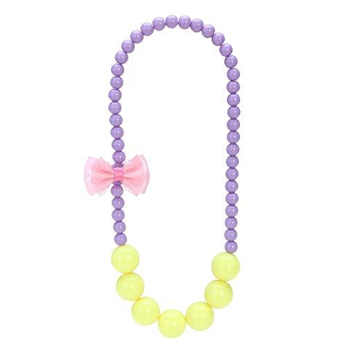 Kostüm Bubblegum (Tinksky Mädchen Perlen Halskette Bowknot Faux Perle Halskette für Kinder Schmuck Geschenke Prinzessin Dress up Pedant Perlen Halskette Kostüm)