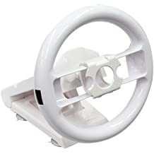 Volant racing compatible Nintendo Wii - Fixation ventouse, Orientable, Compatible Mario Kart - Blanc