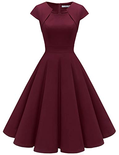 HomRain Damen 50er Vintage Retro Kleid Party Kurzarm Rockabilly Cocktail Abendkleider Burgundy M