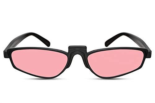 Cheapass Sunglasses Sonnenbrillen breit Cat Eye schwarzer Rahmen mit rosa durchscheinenden Gläsern Retro Fashion Design UV400 geschützt Damen
