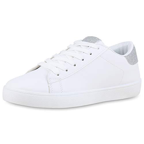 SCARPE VITA Damen Sneaker Low Glitzer Turnschuhe Schnürer Freizeit Schuhe 174340 Weiss Silber 37