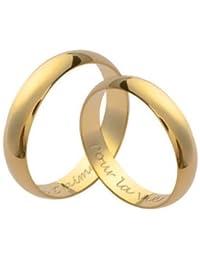 So Chic Bijoux © Couple d'Alliances: Ensemble Set 2 Bagues Mariage 4 mm Plaqué Or 750 - Personnalisable : Gravure Offerte