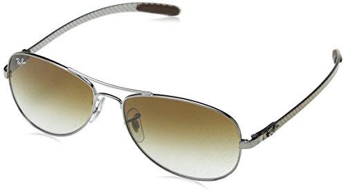 Ray-Ban RAYBAN Unisex Sonnenbrille Aviator Grau (Gestell: Gunmetal Glas: braun Verlauf 004/51), Large (Herstellergröße: 56)
