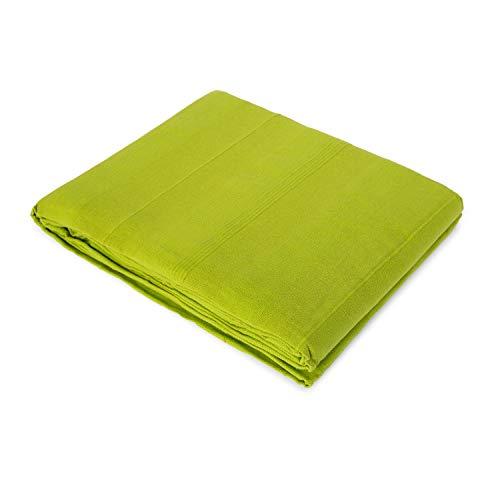 Copriletto plaid multifunzione per divano o letto, in cotone 100%, colore verde 130x170 pistacchio