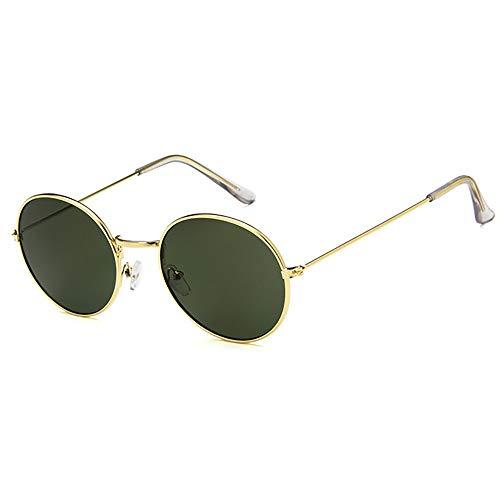 Runde Sonnenbrille Metallrahmen Brille Vintage UV-Schutz Retro für Männer und Frauen Eyewear Bequeme Brille (Color : Green)