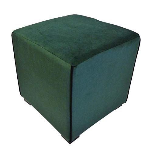 COTTON WOOD Pouf carré Velours Harry - 35 x 35 cm - Vert émeraude avec Passepoil Noir